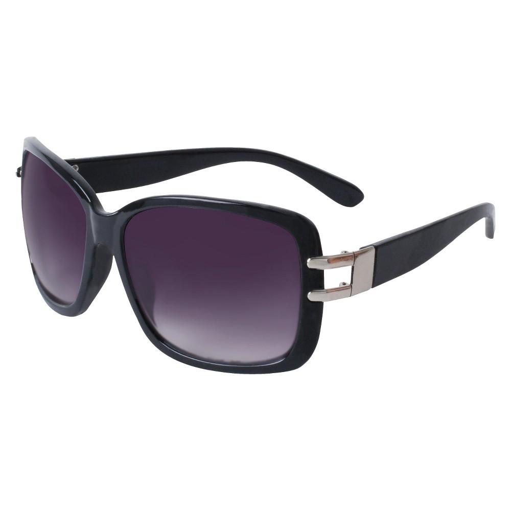 Womens Rectangle Sunglasses- Rose Gold, Black