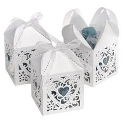 25ct Square Heart Die Cut Wedding Favor Box  - White