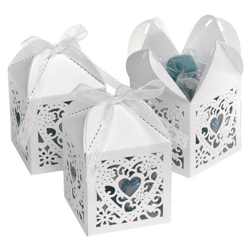 25ct Square Heart Die Cut Wedding Favor Box  - White - image 1 of 2