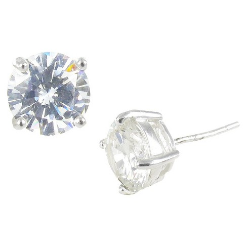 Sterling Silver Cubic Zirconia Stud Earrings Round - Clear/Silver - image 1 of 1