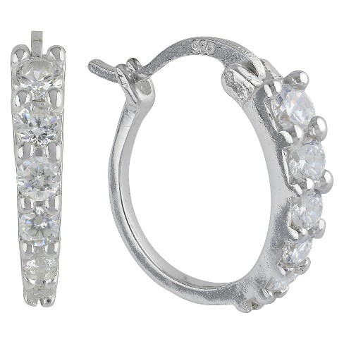 Sterling Silver Earrings Hoop With Cubic Zirconia Silver - image 1 of 1