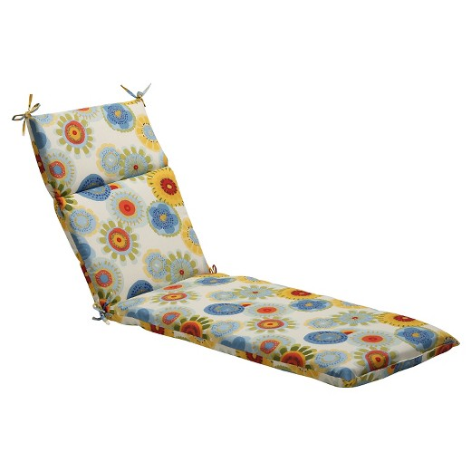 Outdoor chaise lounge cushion blue white yellow floral for Blue and white chaise lounge cushions