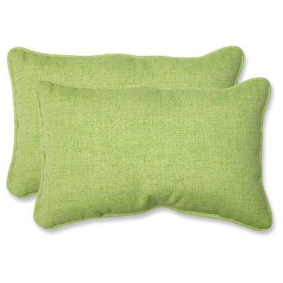 Outdoor 2-Piece Lumbar Toss Pillow Set - Green 18