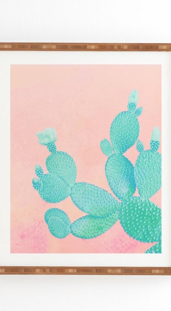 Kangarui Pastel Cactus Framed Wall Art by Deny Designs