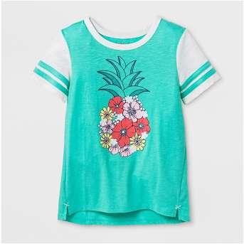 Girls' Pineapple Graphic Short Sleeve Top - Cat & Jack™ Green