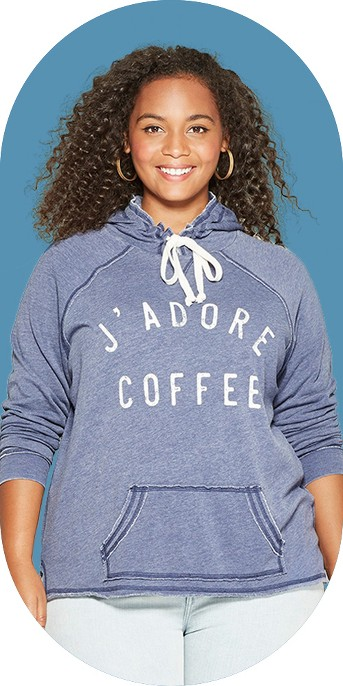 Women's Plus Size J'Adore Coffee Graphic Hoodie - Grayson Threads (Juniors') Blue