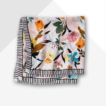 Women's Woven Print Small Square Neckerchief - A New Day™ White