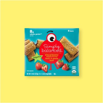 Organic Whole Grain Strawberry Fruit & Grain Bars - 6ct / 1.3oz - Simply Balanced™