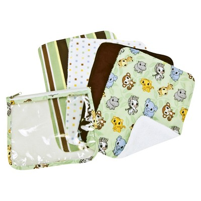 Trend Lab 5pc Burp Cloth & Pouch Gift Set - Chibi Zoo