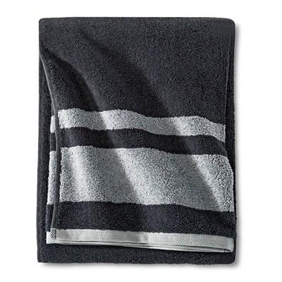Fast Dry Stripe Bath Towel Gray - Room Essentials™
