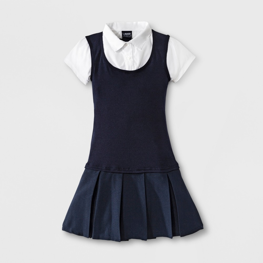 French Toast Girls' Twofer Pleated Dress - Navy 14, Varia...