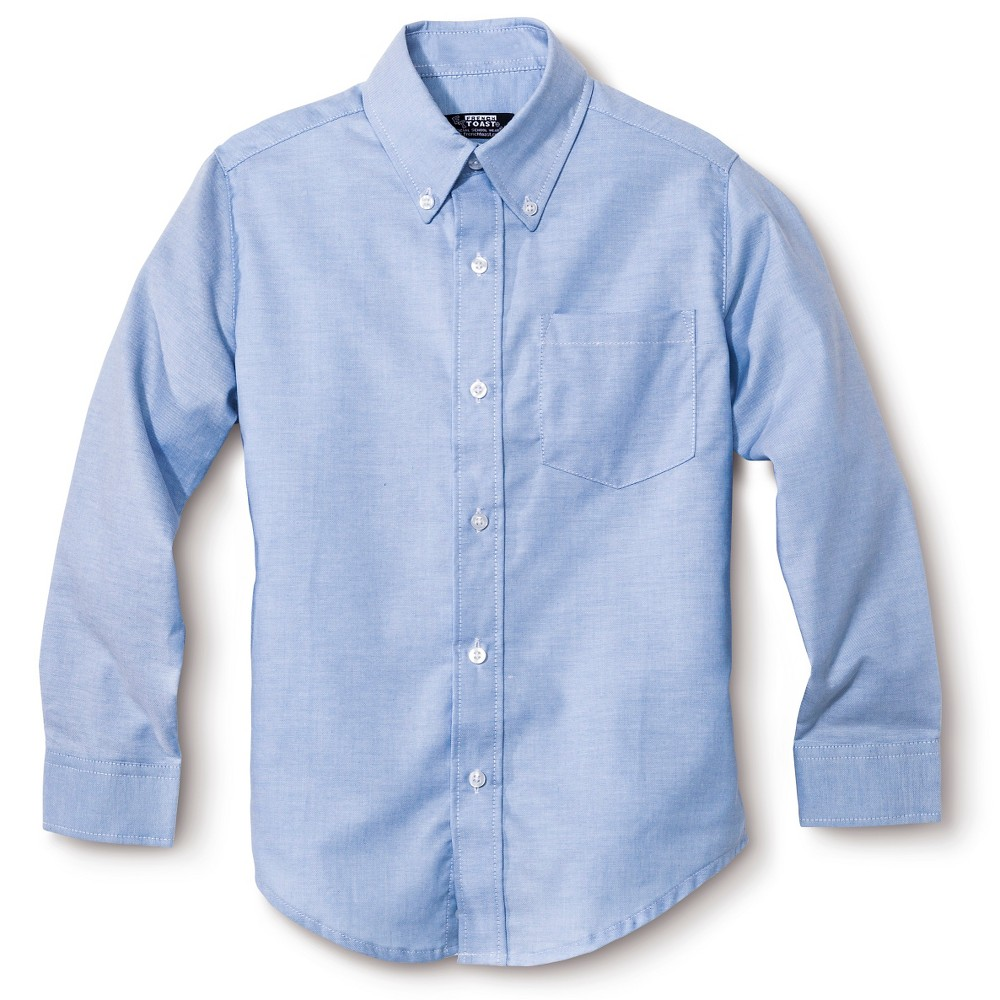 French Toast Boys Long Sleeve Oxford Shirt - Light Blue 14