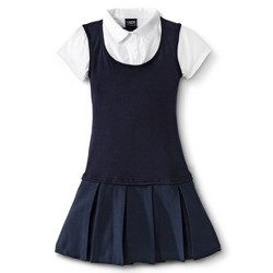 French Toast Girls' Twofer Pleated Dress - Navy