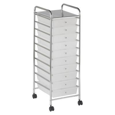 ECR4Kids 10-Drawer Mobile Organizer - White