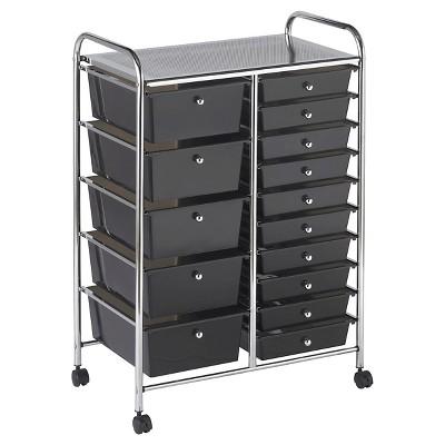 ECR4Kids 15-Drawer Mobile Organizer - Black