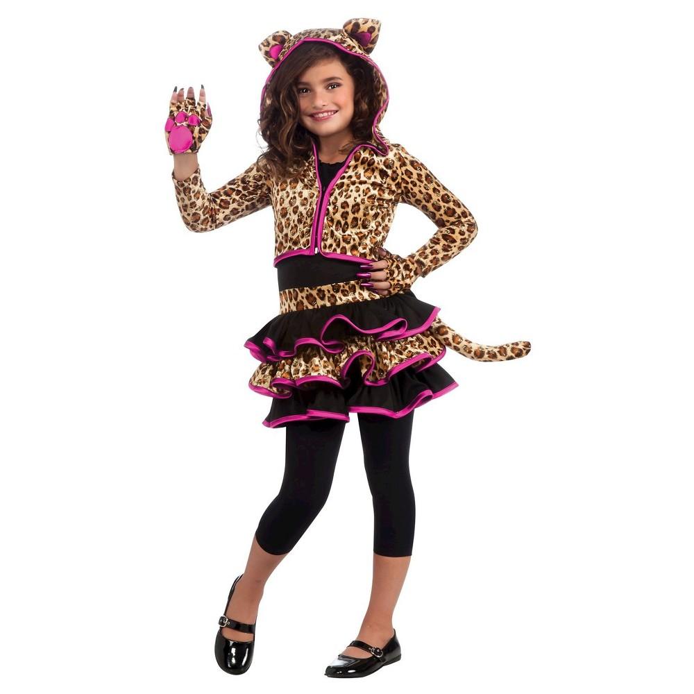 Girls Leopard Hoodie Costume S(4-6), Multicolored