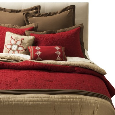 Kingston Matelasse Comforter Set (Queen)Red - 8 Piece