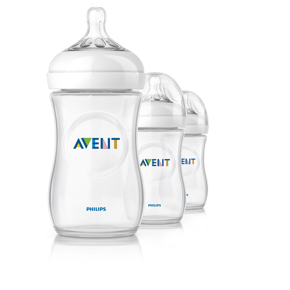 Philips Avent Natural Bottle - 9 oz ( 3 Pack), White/Clear