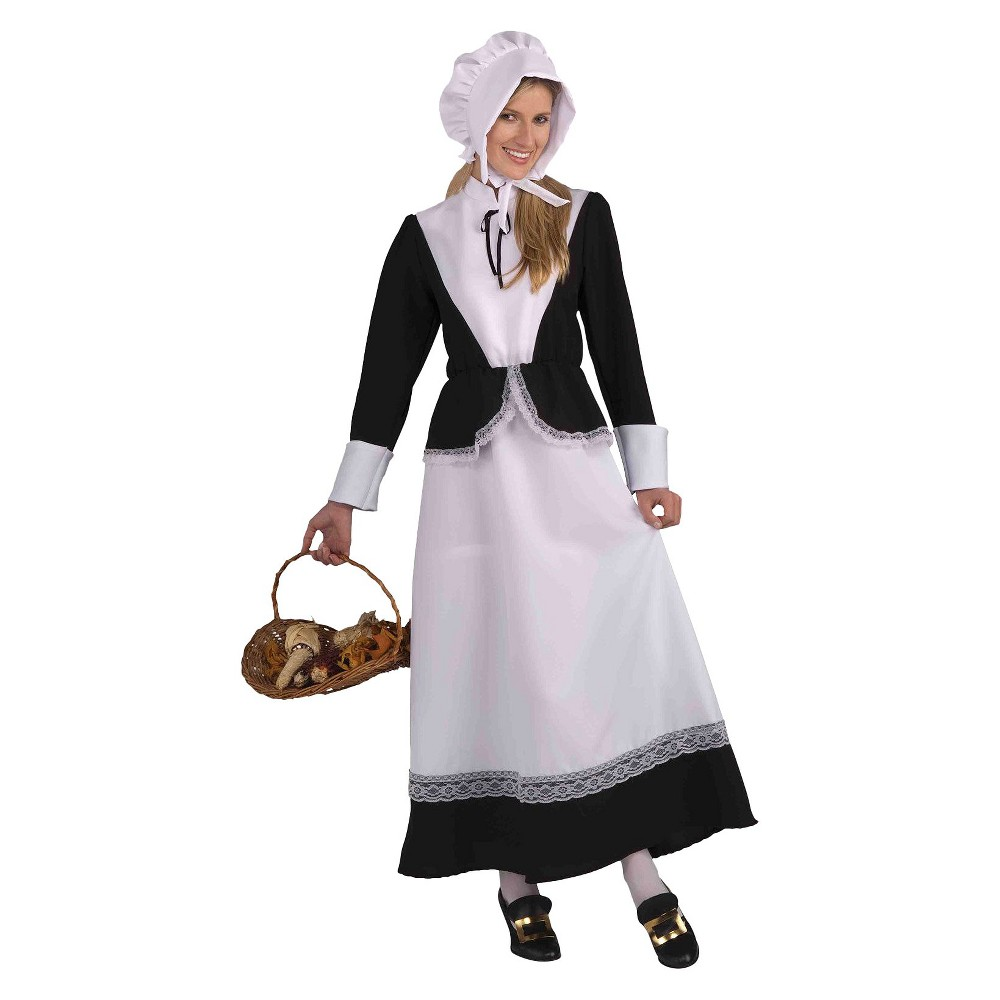Womens Pilgrim Lady Costume One Size Fits Most, Black/White