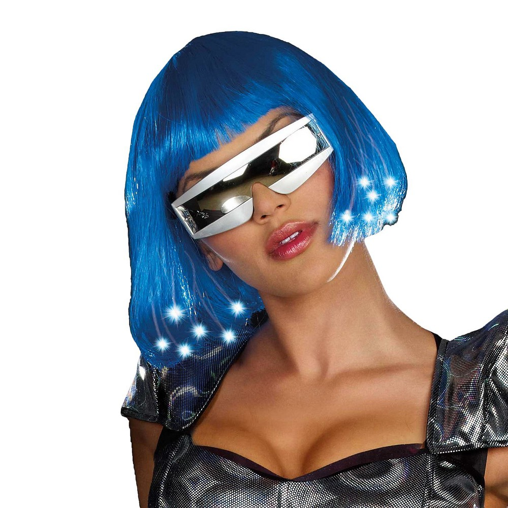 Womens Intergalactic Light Up Wig Blue