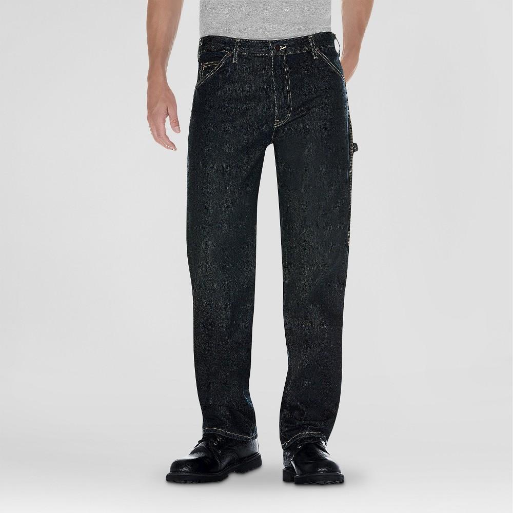 Dickies - Mens Big & Tall Relaxed Straight Fit Denim Carpenter Jeans Khaki Tint 46X32