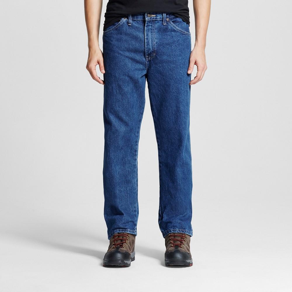 Dickies - Mens Regular Straight Fit Denim 5-Pocket JeansStone Washed 32x34, Blue