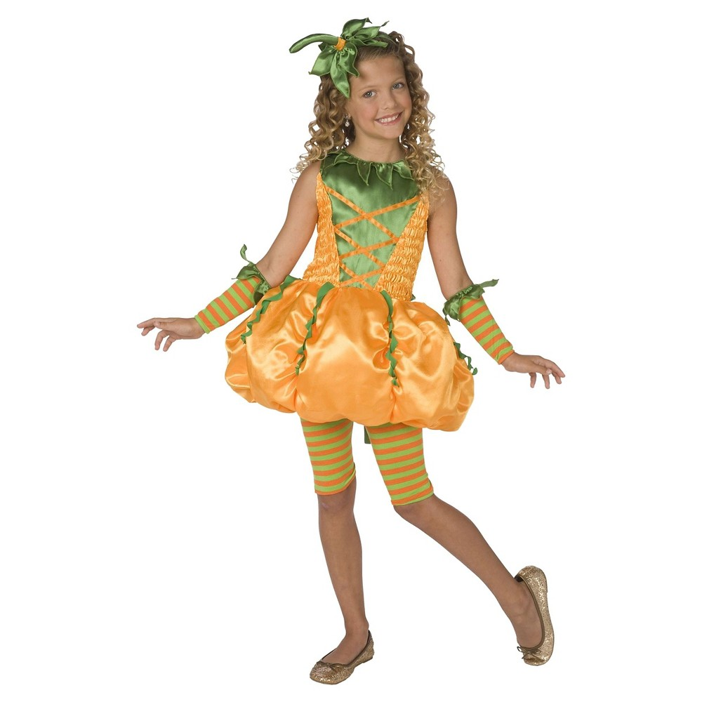 Girls' Precious Pumpkin Costume Large (12-14), Orange