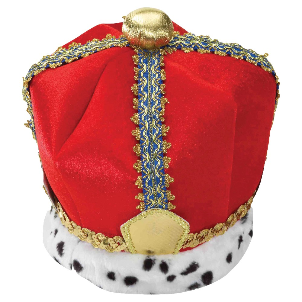 Mens Velvet King Crown, Red
