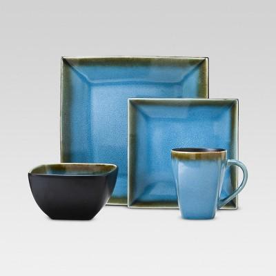 Square Elemental Ocean 16pc Dinnerware Set - Threshold™ & threshold square microwave dinnerware : Target