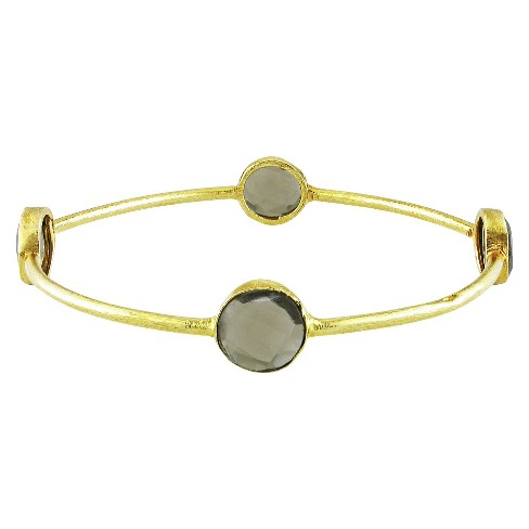 "16 CT. T.W. Smokey Quartz Bangle in 22k Yellow Gold Plated Brass - 8"" - Gray - image 1 of 1"