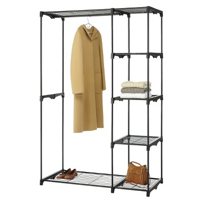 Whitmor Double Rod Freestanding Closet   Black