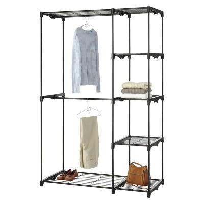 Whitmor Double Rod Freestanding Closet   Black