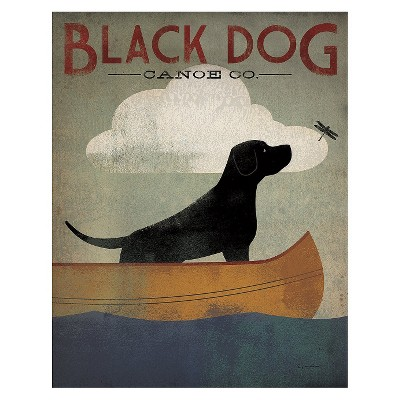 Art.com - Black Dog Canoe Art Print