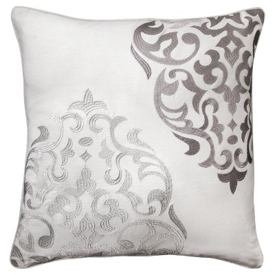 Hope Embroidered Medallion Throw Pillow (20 x20 )Gray - Mudhut™
