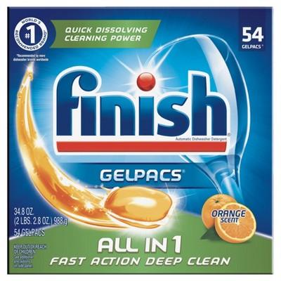 Finish Gelpacs Orange Scent Dishwasher Detergent - 54pk