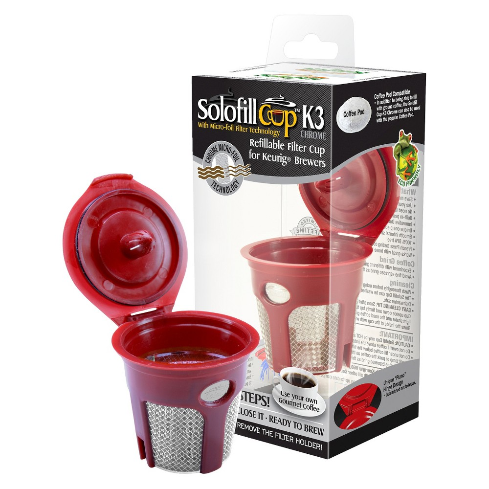 Solofill Single Cup Reusable Coffee Filter, Cherry Red