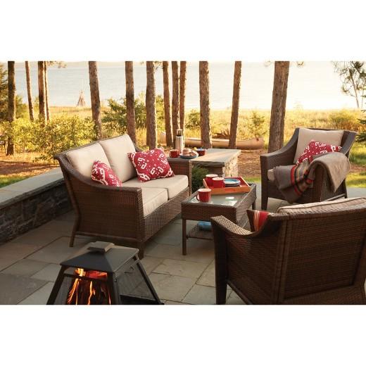 Rolston 4-Piece Wicker Conversation Furniture Set - Threshold ...