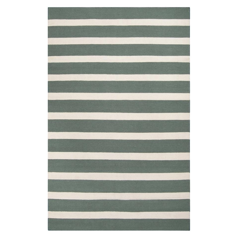 Stripe Flat Weave Area Rug   Green (5x8)