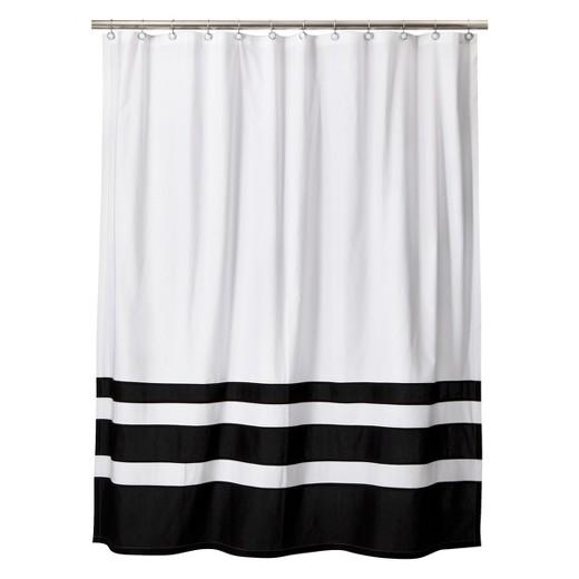 Color Block Shower Curtain Black/White - Threshold : Target