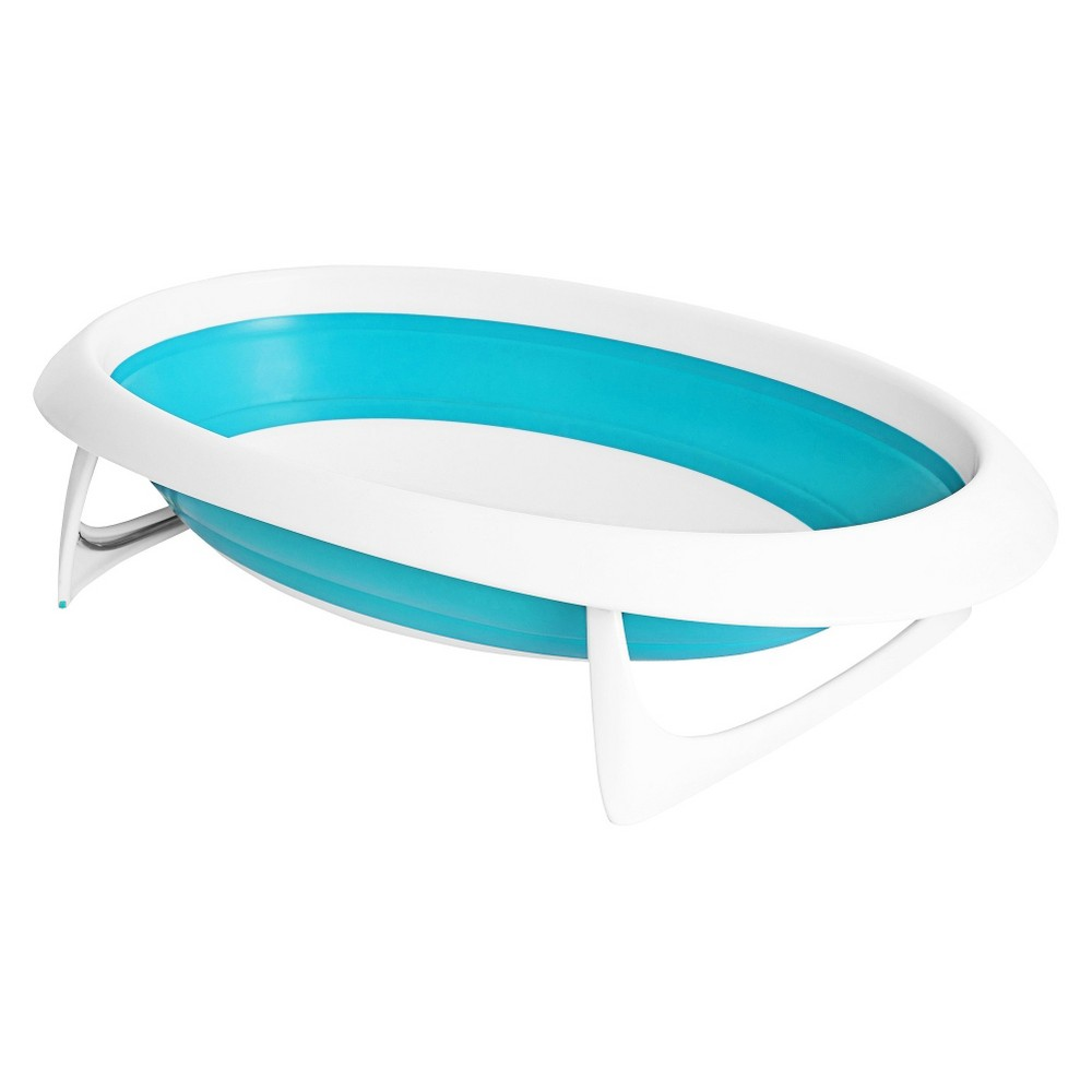 Boon Naked 2-Position Collapsible Baby Bathtub - Blue, Blue/White