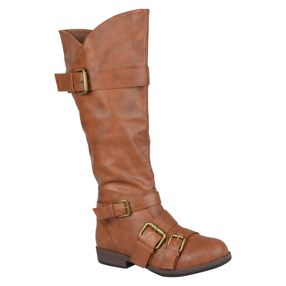 Womens Journee Collection Round Toe Buckle Detail Boots - Chestnut (Brown) 8.5
