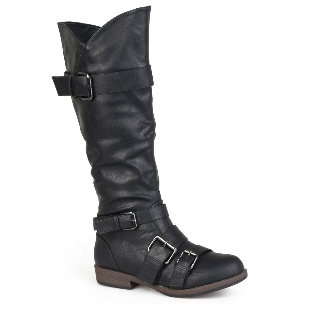 Womens Journee Collection Round Toe Buckle Detail Boots - Black 6