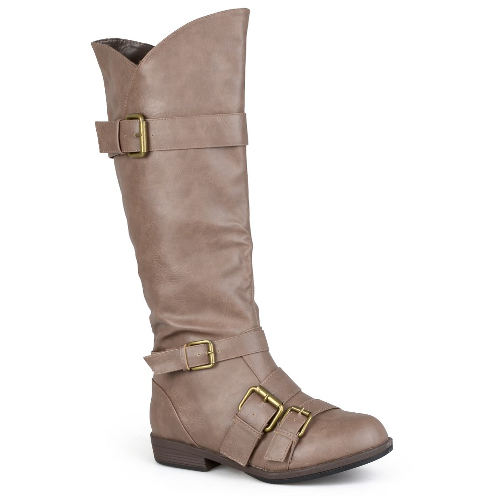 Womens Journee Collection Round Toe Buckle Detail Boots - Taupe (Brown) 6