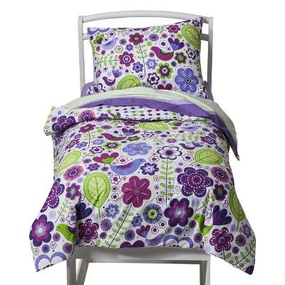 bacati toddler bedding set 4pc botanical purple