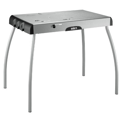 weber portable charcoal grill table silver - Charcoal Grills