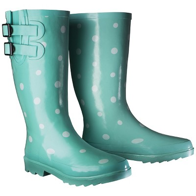 Women's Novel Dot Rain Boot - Mint (Green) 10