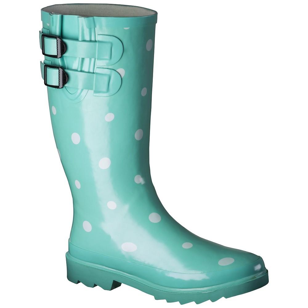 Womens Novel Dot Rain Boot - Mint (Green) 6