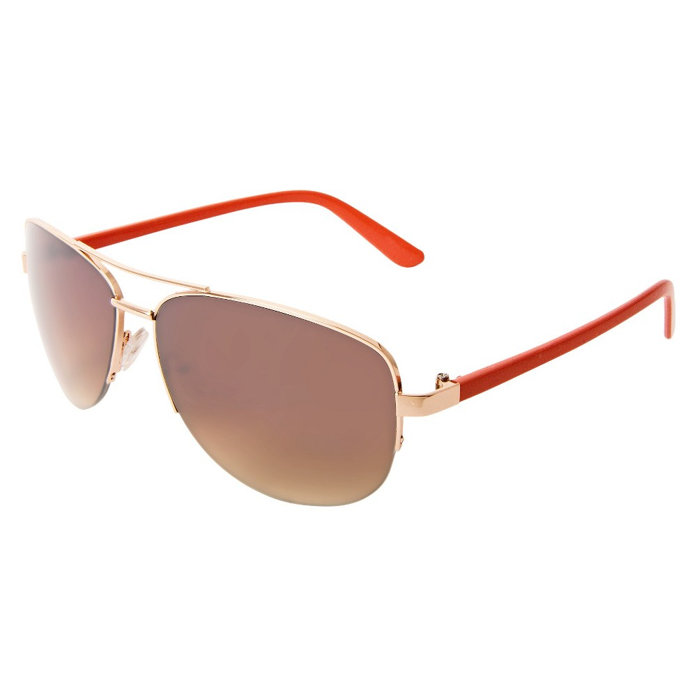Womens Aviator Sunglasses- Gold, Gold/Orange