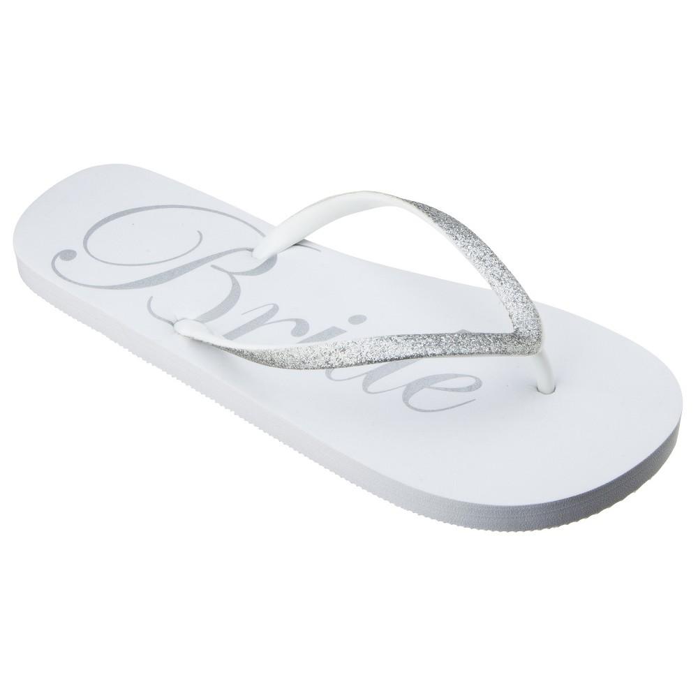 Women's Bridal Flip Flop White S