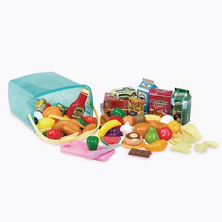 play circle by battat pantry in a bucket 79-piece pretend food playset with storage bin kitchen toys and plastic play-food for toddlers age 3 years and up